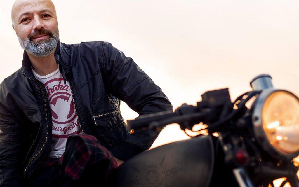 Zeki on a Motorcyle